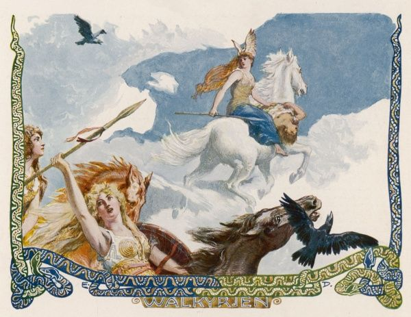 Valkyries = Choosers of the Slain : warrior handmaidens of Odin, they select warriors who are destined to die, and escort them to Valhalla where they feast for evermore