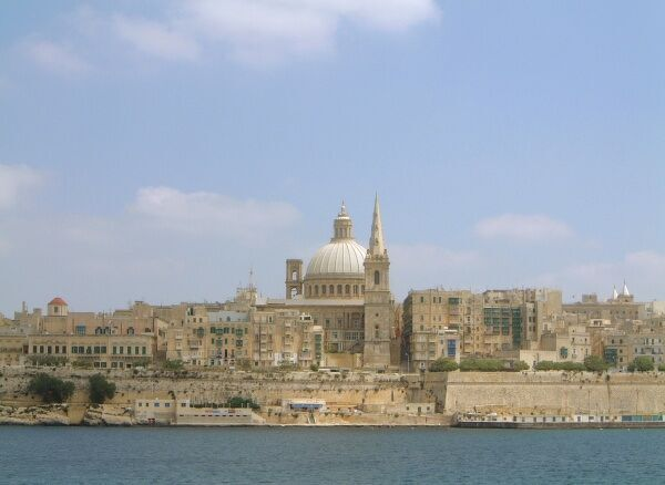 View from the Marsamxett Harbour towards the Carmelite Church dome and St Paul's Cathedral spire, Valletta, Sliema, Malta