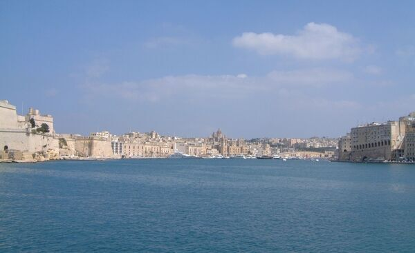 The Dockyard Creek on the eastern side of the Grand Harbour with Vittoriosa on the left and Bormia (Cospicua) ahead
