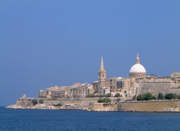 View towards the Carmelite Church dome and the spire of St Paul's Cathedral spire in Valletta Date: 2005
