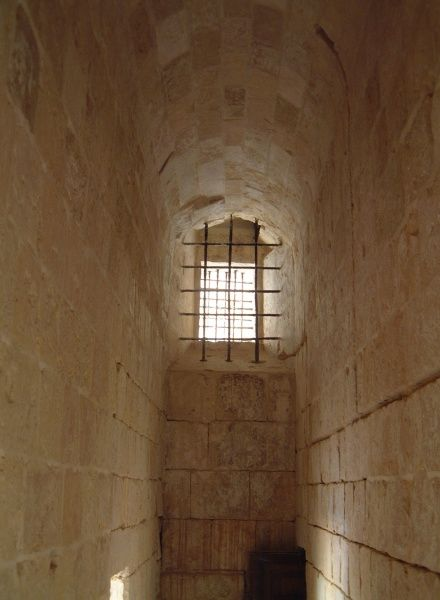 The interior of a prison cell at the Inquisitor's Palace, St Lawrence, Grand Harbour, Valletta, Malta