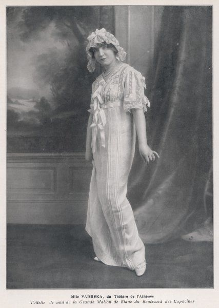 Mlle Vareska of the Theatre de l'Athenee in her night attire