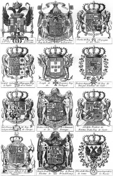 Coats of arms of Elisabeth empress of Russia and the kings of France, Britain, Spain, Portugal, Poland, Norway, Sweden and Prussia among others. Date: circa 1760