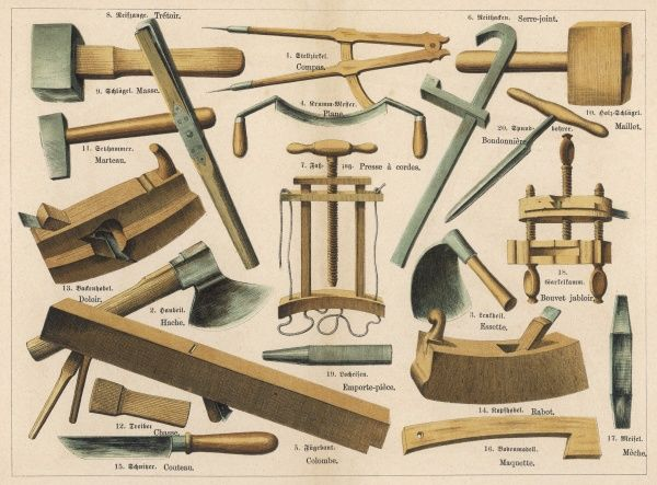 Various tools used by a cooper or barrel maker, including mallets, a hammer, a hatchet and a knife