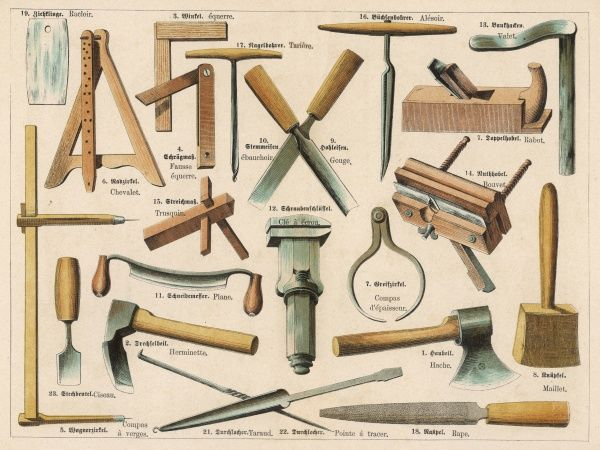 Various tools used in the cartwright's trade, including a mallet, a hatchet, a file, a plane and a set square