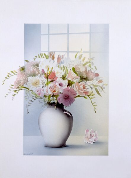 An airbrush painting by Malcolm Greensmith in a very 1980s style, depicting a vase of flowers