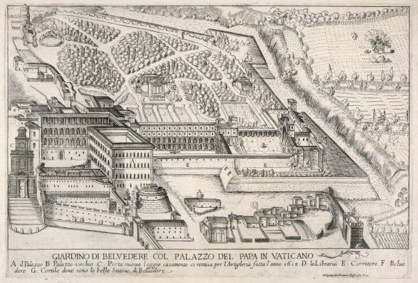 The Papal Palace and grounds of the Vatican, showing the new gateway built in 1618, the Library, the Old and New Palaces, courtyards and long passageway. Date: 17th century