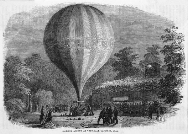 A balloon ascent in Vauxhall Gardens