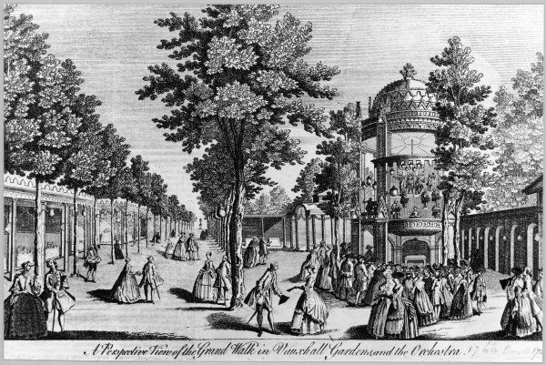 A view of the grand walk and orchestra, Vauxhall Gardens