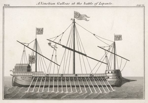 A Venetian Galley (Galleas) at the time of the Battle of Lepanto (1571)