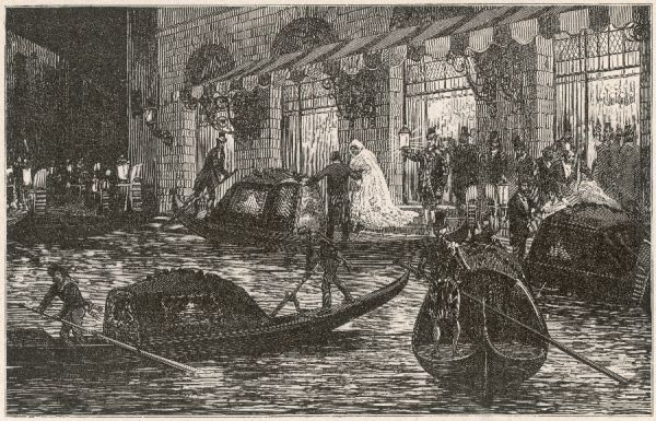 Venice: gondoliers congregate as elegant operagoers leave La Fenice after a performance