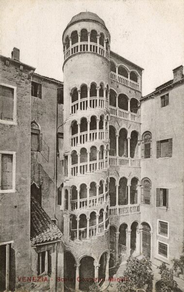 The Scala Contarini del Bovolo (also called Palazzo Contarini Minnelli dal Bovolo) is a small palace in Venice. The architect Giorgio Spavento added this wonderful staircase to the original structure. The spiral is often compared to the snails shell