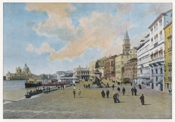 Venice: Riva degli Schiavoni, with the statue of Vittorio Emanuele