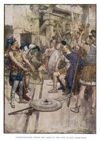 The gallic patriot Vercingetorix surrenders to Julius Caesar, but he is taken in chains to Rome, imprisoned for 6 years and then beheaded