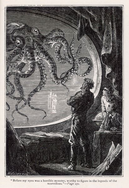 '20,000 LIEUES SOUS LES MERS' [20 000 leagues under the sea] A giant squid, seen from the safety of the 'Nautilus&#39