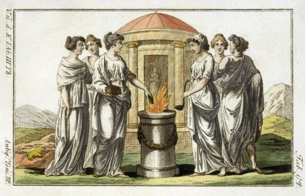 Roman Vestal Virgins make a sacrifice, probably of precious spices