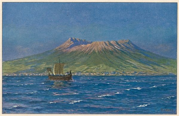 A Roman galley sails past Vesuvius, depicted before the catastrophic eruption of 79, which destroyed the cities of Pompeii and Herculaneum