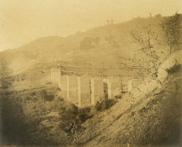 Viaduct 150 ft high, in a ravine of Soangiri Hill at 3 1/4 miles Date: 1856