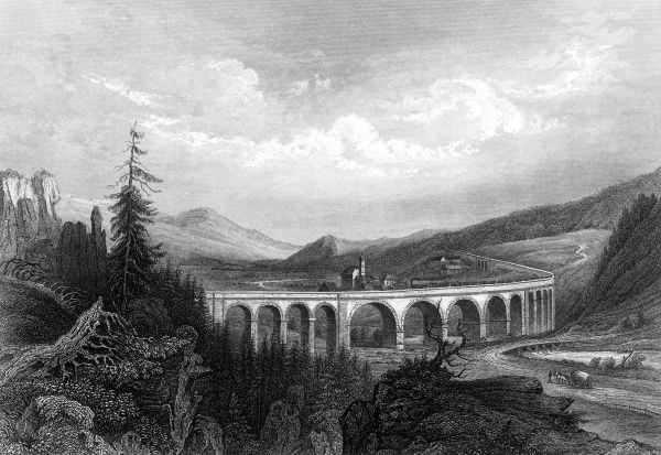 Viaduct over the Semmering mountain region of Austria. Date: circa 1840