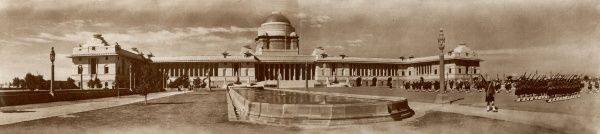 A worthy setting for the King-Emperor's representative in India, the centre of the coming inaugural festivities - the viceroy's house at New Delhi designed by Edwin Lutyens