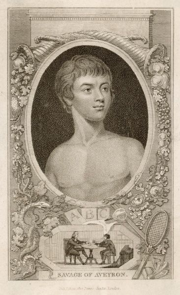 Victor, the wild child of Aveyron educated by Jean Itard, French physician