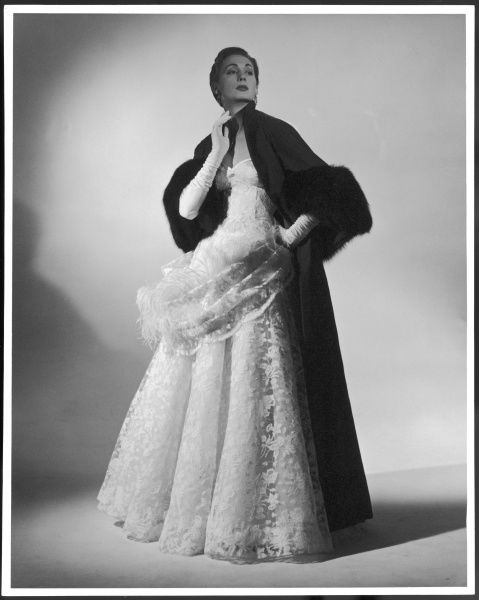 A glamorous evening dress of nylon lace made by designer Victor Stiebel (1907-1976). See picture no.10197051