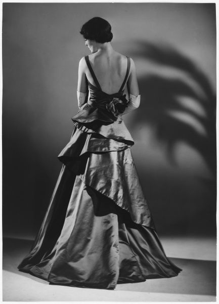 Back view of a sumptuous evening gown designed by Victor Stiebel