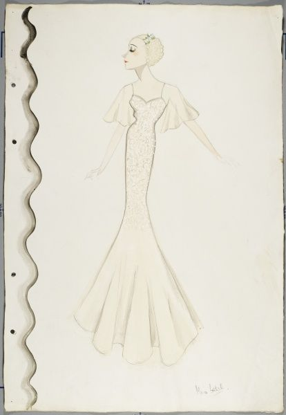 An elegant white embroidered bias cut evening dress with sheer butterly sleeves designed by Victor Stiebel (1907-1976)