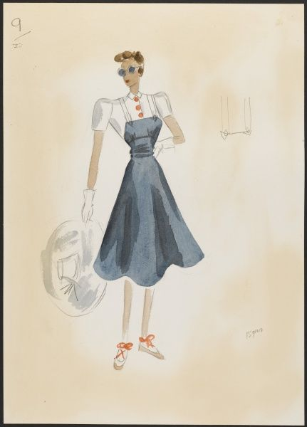 A fashion design by Victor Stiebel (1907-1976) for a navy & white summer sports dress. Red buttons on bodice,large white hat, gloves & red sandals