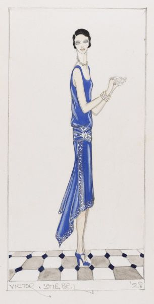 Design by Victor Stiebel (1907-1976) for an elegant evening or cocktail dress in royal blue with embellished assymetric hem and drop-waist. Shoes & jewellery match dress