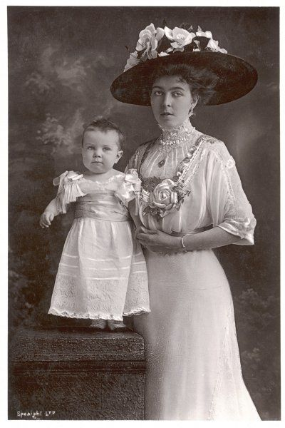 VICTORIA OF BADEN Wife of Gustav V, King of Sweden (reigned 1907-50), daughter of the Grand Duke of Baden; seen here with her son