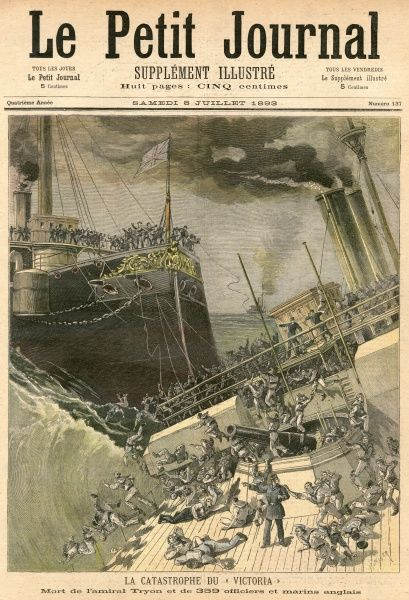Error and obstinacy on Admiral Tryon's part lead to his flagship 'Victoria' and the 'Camperdown' colliding : 'Victoria' sinks, 'Camperdown' is damaged, 300+ drown