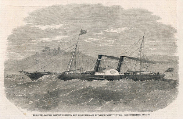 The 'Victoria' paddle steamer, operated by the South-Eastern Railway Company, plies between Folkestone and Boulogne