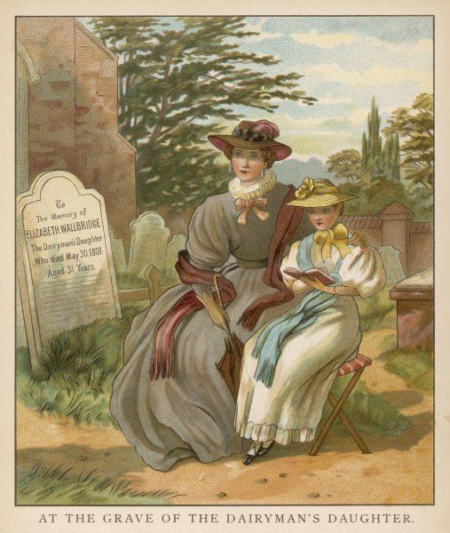 She reads Richmond's life of Elizabeth Wallbridge, dairyman's daughter, to her mama while sitting near her grave in Brading churchyard, Isle of Wight