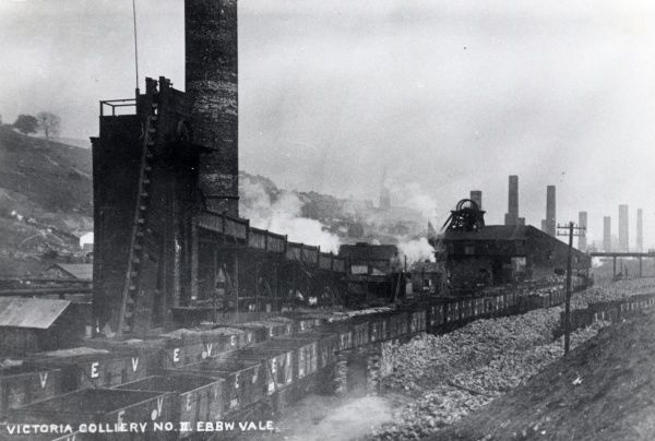 View of the Victoria Colliery, Ebbw Vale, Blaenau Gwent, South Wales