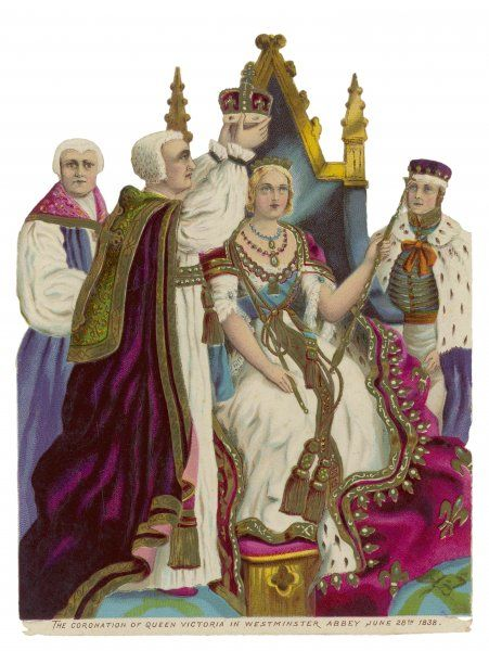 She is crowned at Westminster Abbey. The archbishop of Canterbury places the crown on her head