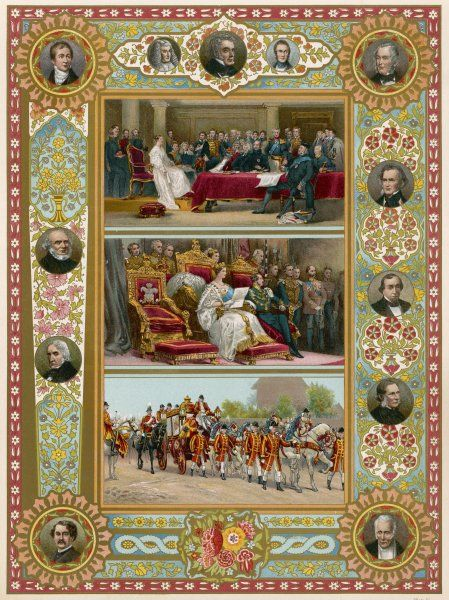 Three scenes from Queen Victoria's reign: 1. her first council, 1837 2. her first parliament, 1837 3. procession to Parliament, 1896