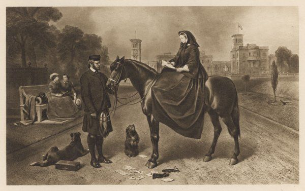 VICTORIA with her Highland servant, John Brown : reading letters on horseback, at Osborne