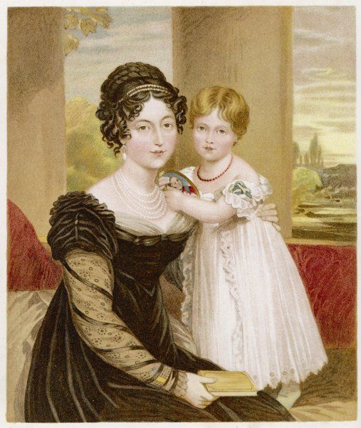 Victoria at age two, with her mother, the duchess of Kent
