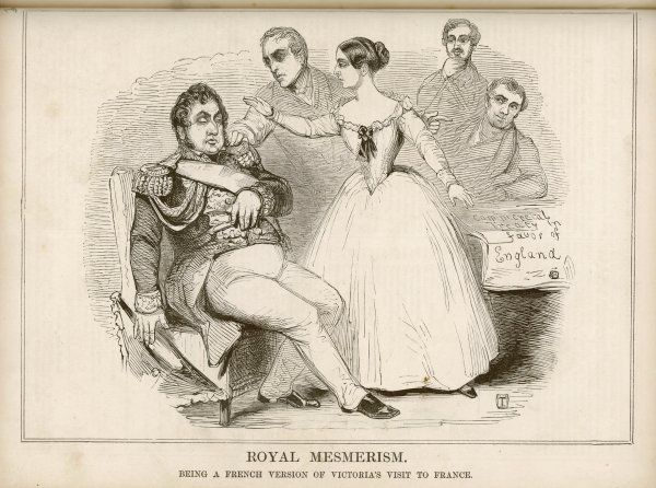 Queen Victoria, visiting Louis-Philippe of France, is suspected by the French of using mesmerism on him to obtain better terms for their commercial treaty