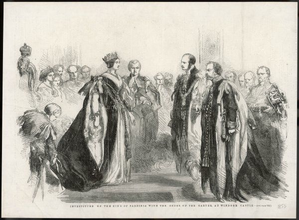 The investiture of Victor Emmanuel II (King of Sardinia and later of Italy) with the Order of the Garter at Windsor Castle, on 1 December 1855