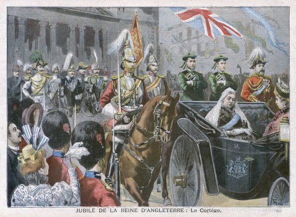 Queen Victoria rides through the streets of London on the occasion of her Diamond Jubilee