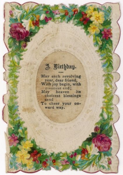 A Victorian birthday card with a poem
