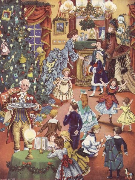 A Pauline Baynes illustration of a Victorian children's Christmas party showing a typical Victorian drawing room with its homely clutter of bric-a-brac and elaborate decoration, even more loaded than usual with the addition of Christmas decorations