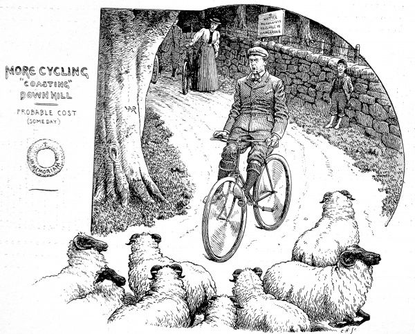 Engraving showing a Victorian cyclist suddenly encountering a flock of sheep at the bottom of a dangerous hill, Britain, 1898