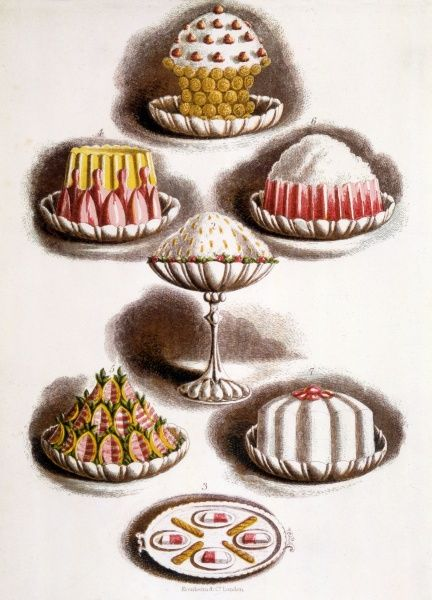 An array of mouth-watering late Victorian desserts. Date: 1893