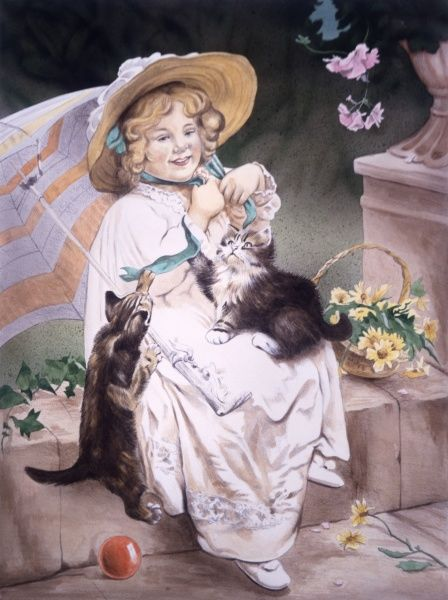 A Victorian era girl with bonnet and parasol sits on a low wall and plays with her two kittens in a break from a walk to pick flowers. Painting by Malcolm Greensmith