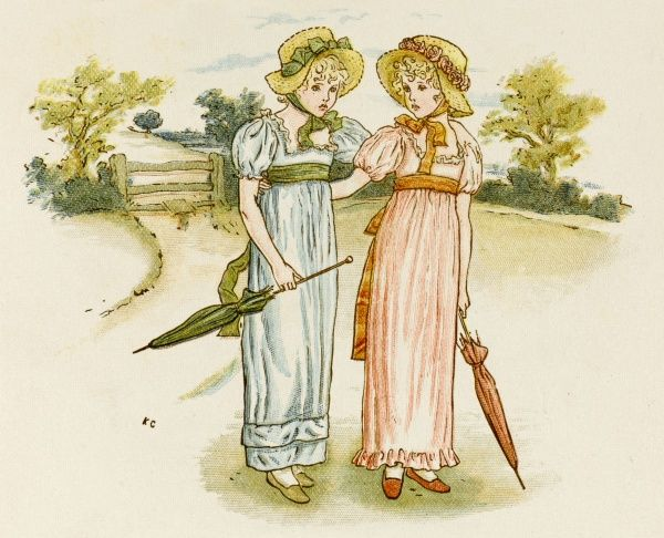 Two good natured Victorian girls, out for a stroll in the countryside with parasols to hand and holding eachother as they go
