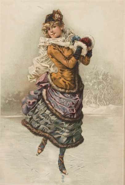 A woman in a skating costume, circa 1880, glides across the ice proudly wearing her muff