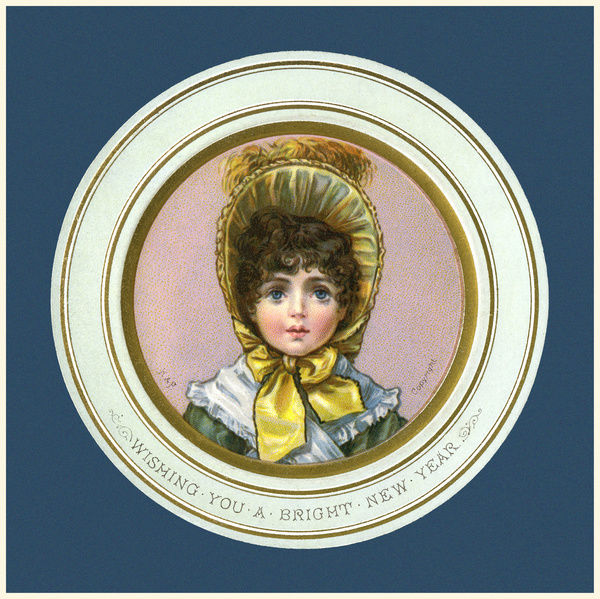 circular new year card showing the head shoulders of a young girl in yellow bonnet